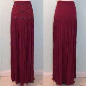 Anthro maxi maroon skirt Aztec boho festival sm